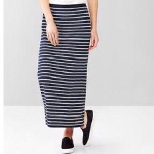 GAP Navy Blue White Striped Womens Long Maxi Skirt